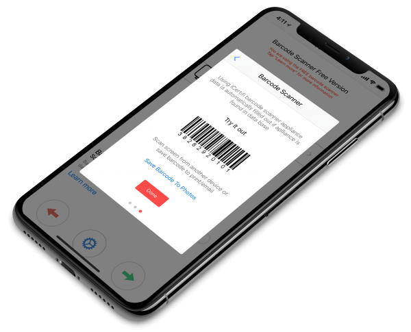 PAT Testing barcode scanner on iPhone