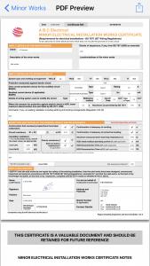 Minor Works Certificate