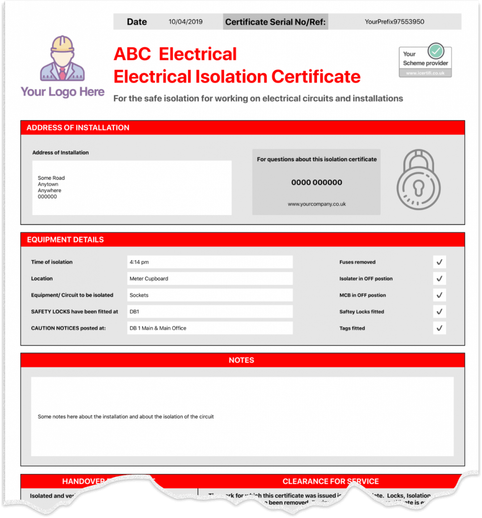 Electrical isolation certificate example