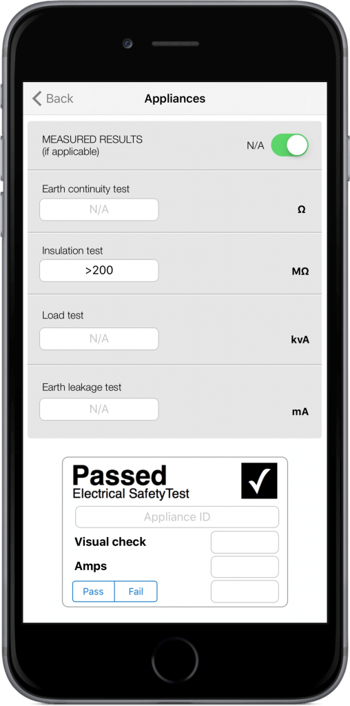 Pat Testing Appliance on iPhone