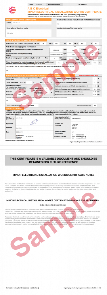 Electrical certificate