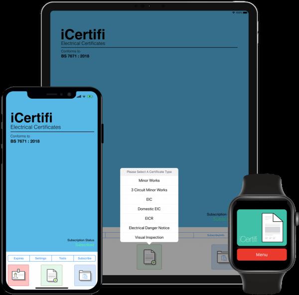 iCertifi Electrical App on iPhone iPad Apple Watch
