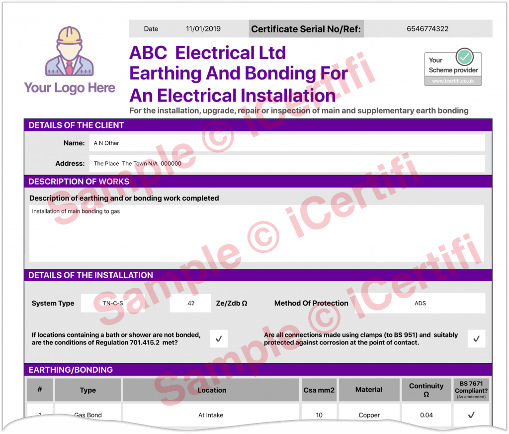Electrical Earthing Bonding Certificate Example