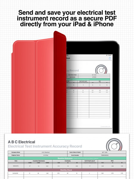 Test instrument accuracy record on iPad
