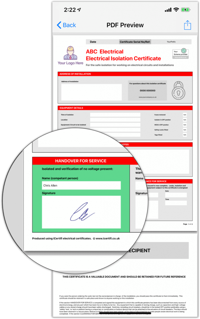 electrical isolation certificate preview iPhone