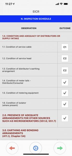 Inspection schedule EICR