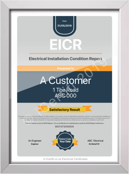 EICR Framed electrical certificate on iPad