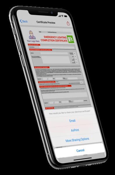Emergency lighting certificate on iPhone